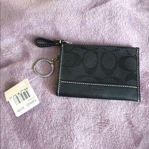 Coach Skinny Wallet with keychain. Black